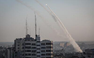 Rockets fired from Gaza towards Israel, followed the targeted killing of Palestinian Islamic Jihad terror chief Baha Abu al-Ata, by an Israeli strike, on November 12, 2019. (Hassan Jedi/Flash90)