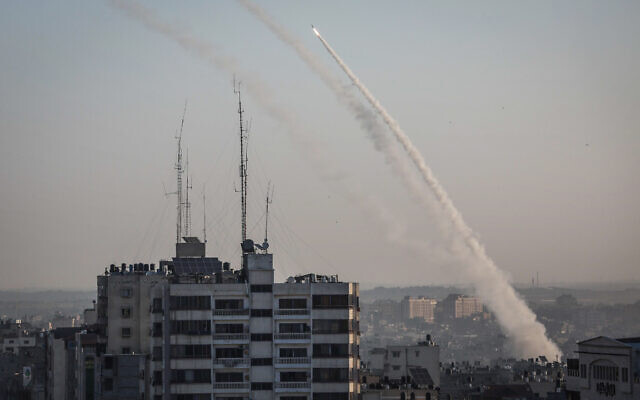 Rockets fired from Gaza towards Israel, followed the targeted killing of Palestinian Islamic Jihad terror chief Baha Abu al-Ata, by an Israeli strike, on November 12, 2019. (Hassan Jedi/Flash90)