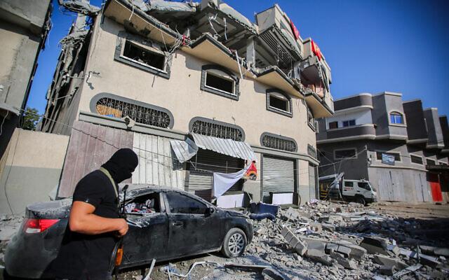 The home of Palestinian Islamic Jihad commander Baha Abu Al-Ata after it was hit in an Israeli strike in Gaza City on November 12, 2019. (Hassan Jedi/Flash90)