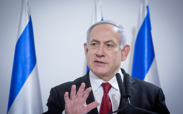 Prime Minister Benjamin Netanyahu delivers a statement to the press after a security cabinet meeting following the escalation of violence in with the Gaza Strip at the Kirya military base in Tel Aviv on November 12, 2019. (Miriam Alster/Flash90)