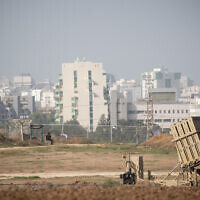 An Iron Dome battery in southern Israel near the border with the Gaza Strip on November 13, 2019 (Yonatan Sindel/Flash90)