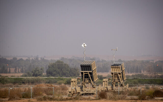 An Iron Dome battery missile set up in Sderot, Southern Israel, near the border with neighboring Palestinian Gaza Strip on November 13, 2019. (Yonatan Sindel/Flash90 )