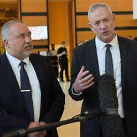 Blue and White party leader Benny Gantz (R) and Yisrael Beytenu chief Avigdor Liberman speak to reporters after meeting in Ramat Gan on November 14, 2019. (Avshalom Sassoni/Flash90)