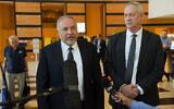 Blue and White party leader Benny Gantz (right) and Yisrael Beytenu chief Avigdor Liberman after meeting in Ramat Gan on November 14, 2019. (Avshalom Sassoni/Flash90)
