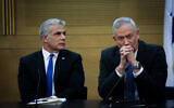Blue and White party chairman Benny Gantz (R) and No. 2 Yair Lapid at a faction meeting in the Knesset on November 18, 2019. (Hadas Parush/Flash90)