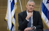 Blue and White party chairman Benny Gantz during a faction meeting at the Knesset, the Israeli parliament in Jerusalem, on November 18, 2019. (Hadas Parush/Flash90)