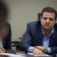 Chairman of the Joint List of Arab parties, Ayman Odeh, speaks during a faction meeting at the Knesset, the Israeli parliament in Jerusalem, on November 18, 2019. (Hadas Parush/Flash90)
