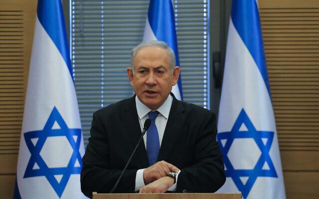 Prime Minister Benjamin Netanyahu speaks during a Likud faction meeting at the Kneeset, the Israeli parliament in Jerusalem on November 20, 2019. (Hadas Parush/Flash90)