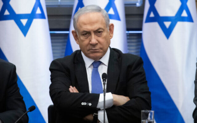 Prime Minister Benjamin Netanyahu during a meeting of the right-wing partie's bloc at the Knesset on November 20, 2019. (Hadas Parush/Flash90)