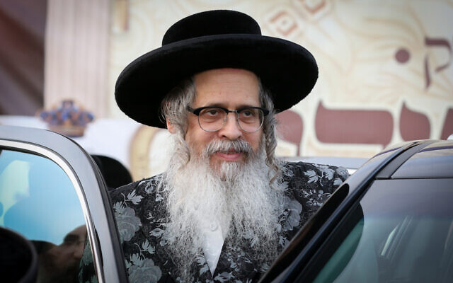 The Satmar Rebbe Zalman Teitelbaum visits the northern Israeli city of Safed on November 21, 2019. (David Cohen/Flash90)