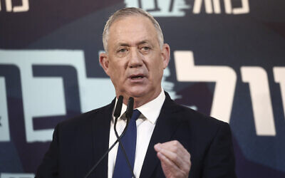 Blue and White chairman Benny Gantz delivers a statement to the press in Tel Aviv, on November 23, 2019 (Miriam Alster/Flash90)