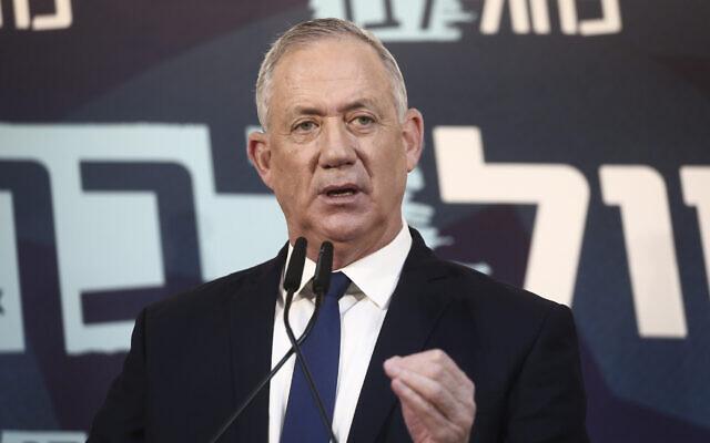 O presidente da Blue and White, Benny Gantz, entrega uma declaração à imprensa em Tel Aviv, em 23 de novembro de 2019 (Miriam Alster / Flash90)