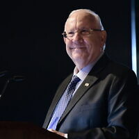 President Reuven Rivlin speaks during a climate conference in Tel Aviv on November 24, 2019. (Tomer Neuberg/Flash90)