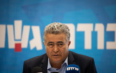 Co-chairmen of the Labor-Gesher party MK Amir Peretz speaks at a faction meeting in the Knesset, in Jerusalem, on November 25, 2019. (Hadas Parush/Flash90)