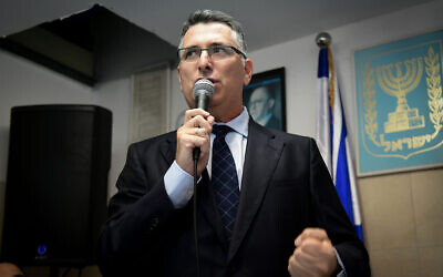 Likud party MK Gideon Sa'ar seen with Likud supporters during an event in Hod Hasharon, November 25, 2019. (Yossi Zeliger/Flash90)