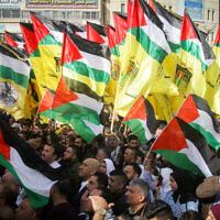 Palestinian demonstrators protest against US position on Israeli settlements, in the West Bank city of Nablus, November 26, 2019. (Nasser Ishtayeh/Flash90)