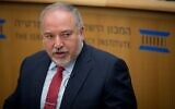 Yisrael Beytenu chairman MK Avigdor Liberman participates in a conference at the Israeli Institute for Democracy, in Jerusalem, on November 26, 2019. (Yonatan Sindel/Flash90)