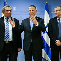 Parliament Speaker Yuli Edelstein meets with Jerusalem Affairs Minister Zeev Elkin and Tourism Minister Yariv Levin of the Likud party at the Knesset on November 27, 2019 (Flash 90)