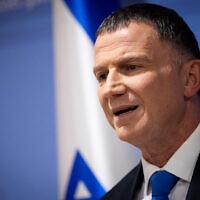 Knesset Speaker Yuli Edelstein gives a press statement in the Knesset, the Israeli parliament in Jerusalem on November 27, 2019. (Yonatan Sindel/Flash90)