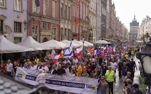 The March of Life in Gdansk, Poland, in 2019. (Courtesy)