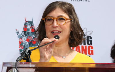 Mayim Bialik speaks at the TCL Chinese Theatre IMAX in Hollywood, California, May 1, 2019. (Paul Archuleta/FilmMagic/Getty Images via JTA)