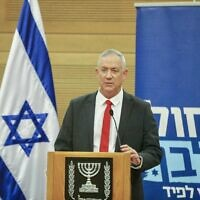 Blue and White leader Benny Gantz addresses members of his faction during  a meeting in the Knesset on November 11, 2019 (Elad Malka)