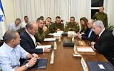 Prime Minister Benjamin Netanyahu (R) and Defense Minister Naftali Bennett (2L) mmet with military chiefs in Tel Aviv on November 12 2019 (Haim Tzach/GPO)