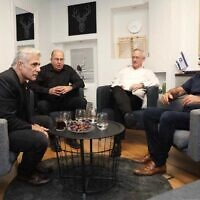 Blue and White party leaders, from left: Yair Lapid, Moshe Ya'alan, Benny Gantz and Gabi Ashkenazi meet to discuss ongoing coalition negotiations on November 17 2019 (Courtesy/Elad Malka)