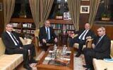 From left to right: Likud Minister Yariv Levin, Prime Minister Benjamin Netanyahu, President Reuven Rivlin and Likud Minister Ze'ev Elkin meet at the President's Residence in Jerusalem on November 19, 2019. (Mark Neiman/GPO)