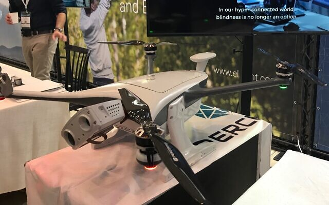 A drone developed by Israeli startup Percepto on display at the UVID 2019 conference and exhibition at Airport City, November 7, 2019 (Shoshanna Solomon/Times of Israel)