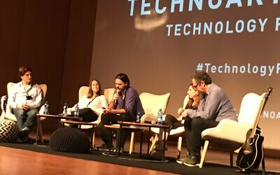 A panel of speakers at the TechnoArt conference held in Tel Aviv on Nov. 10, 2019 (Shoshanna Solomon/Times of Israel)