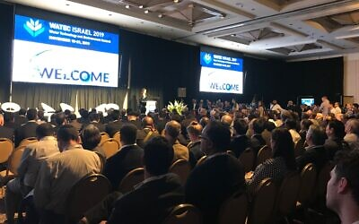 Michigan Governor Gretchen Whitmer addressing a session at Watec in Tel Aviv, November 19, 2019 (Shoshanna Solomon/Times of Israel)