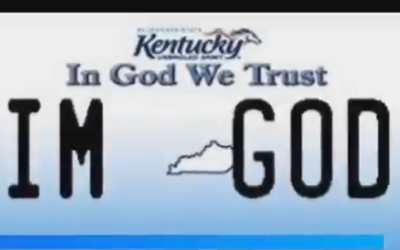 A screen capture from a Fox 19 Now report on a Kentucky man's request for an 'IM GOD' vanity license plate. (Screen capture: YouTube)