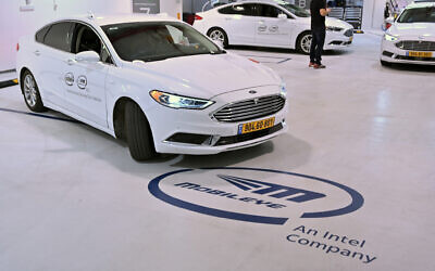 Cars in the Mobileye fleet of autonomous vehicles leave the Mobileye garage for test drives November 5, 2019, as part of the 2019 Mobileye Investor Summit. (Walden Kirsch/Intel Corporation)