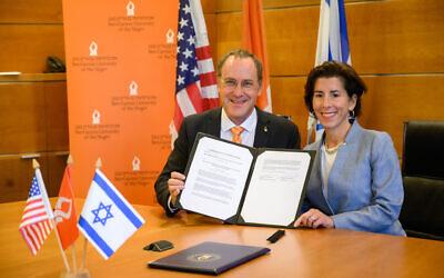 Rhode Island Governor Gina Raimondo signs a Memorandum of Understanding between Ben-Gurion University of the Negev and the State of Rhode Island. (courtesy, Ben Gurion University)
