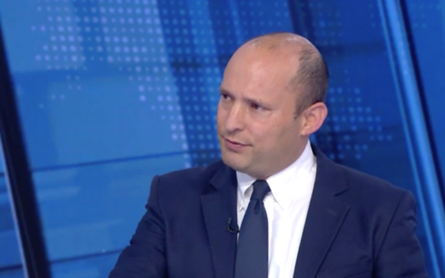 New Right chairman Naftali Bennett is interviewed on Channel 12's 'Meet the Press' on November 2, 2019. (Screen capture/Channel 12)