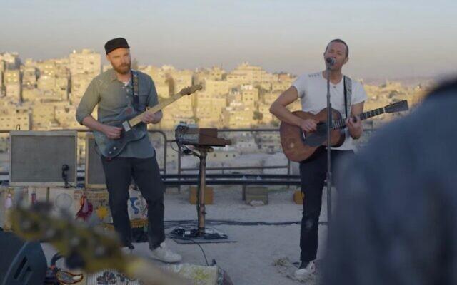 Coldplay performs in Amman, Jordan, November 22, 2019. (Screen capture: YouTube)
