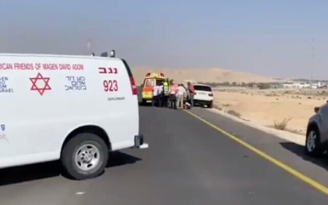 The scene of an ATV crash in southern Israel on November 23, 2019. (Screen capture: Twitter)