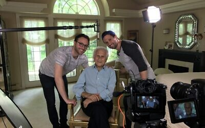 Herbert Gildin and two of his grandchildren, Tyler Gildin, right, and Alex Utay. Utay was a producer on the film. (Courtesy Tyler Gildin)