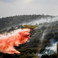 A firefighting plane tries to extinguish a blaze near the town of Tzur Hadassah, outside Jerusalem, November 10, 2019. (Yonatan Sindel/Flash90)