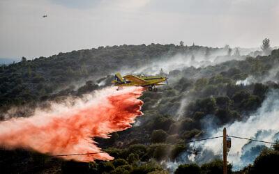 A firefighting plane tries to extinguish a blaze near the town of Tzur Hadassah, outside Jerusalem, November 10, 2019. (Yonatan Sindel/Flash90)