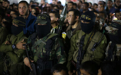 Islamic Jihad terrorists attend a memorial service for one of their number who was killed in clashes with Israel, November 15, 2019. (Hassan Jedi/Flash90)