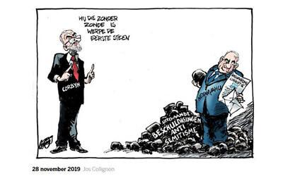 A caricature suggesting Prime Minister Benjamin Netanyahu is behind British Labour's anti-Semitism scandals. (De Volkskrant via JTA)