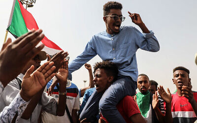 People take part in a protest in Khartoum, Sudan, July 18, 2019. (AP Photo/Mahmoud Hjaj)