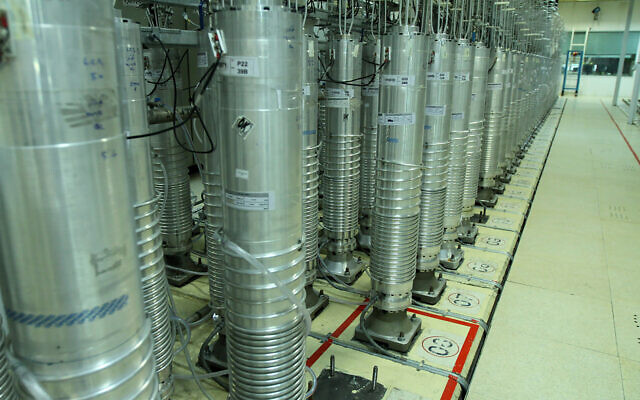 Centrifuge machines in the Natanz uranium enrichment facility in central Iran, November 5, 2019. (Atomic Energy Organization of Iran via AP)