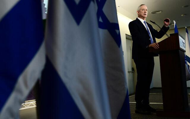 Blue and White chairman Benny Gantz holds a press conference in Tel Aviv, November 20, 2019. (Tomer Neuberg/Flash90)