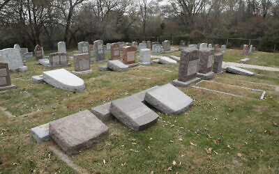 Gravestones vandalized at a Jewish cemetery in Omaha, Nebraska, sometime between October 31 and November 5, 2019. (Omaha Crime Stoppers)