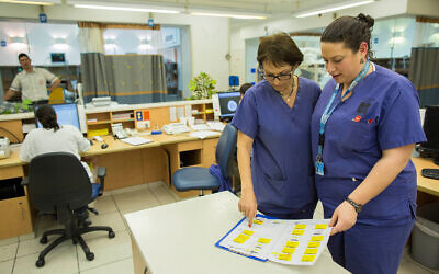 Nurses at the Hadassah Ein Kerem Hospital in Jerusalem, February 19, 2014. (Yonatan Sindel/Flash90)