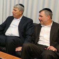 Kiryat Ata mayor Yaakov Peretz, left, February 7, 2017. (Yaacov Cohen/Flash90)
