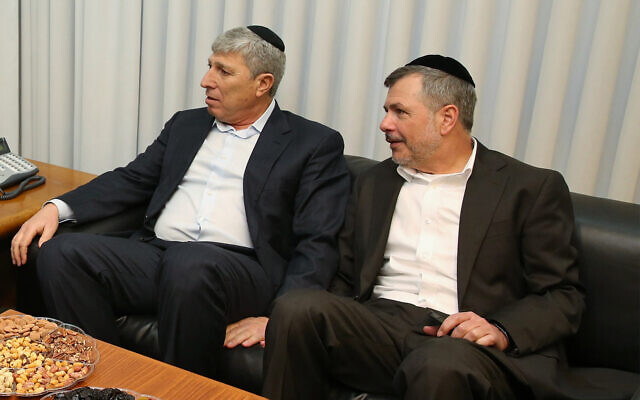 Kiryat Ata mayor Yaakov Peretz, left, February 7, 2017. (Yaacov Cohen/Flash90)